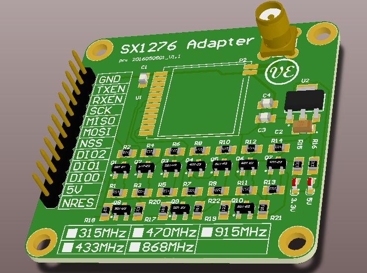 Lora SX1276 Adapter print 3D V1.1