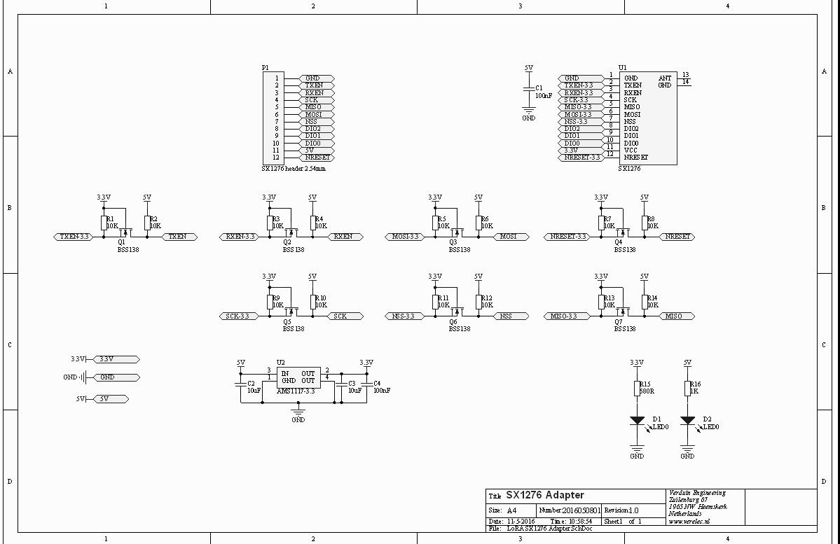 Lora sx1276 Adapter schema V1.0
